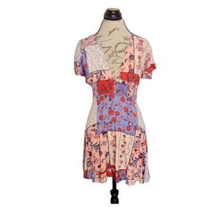 Forever 21 Short Sleeve Dress Button Ruffle
